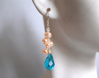 London blue quartz and cream color pearl earrings
