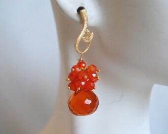 Orange quartz onion briolette and orange Carnelian dangle earrings