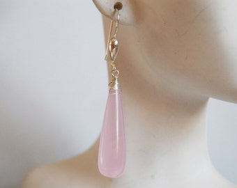 Baby Pink Quartz  Long drop  dangle Earrings