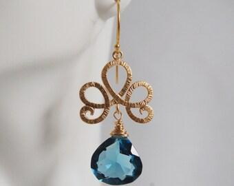 Gorgeous London Blue Quartz dangle Earrings