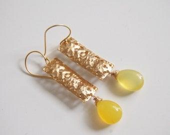 Yellow Chalcedony With textuted rectangle  Dangle Earrings