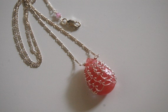 Cherry Quartz netted with sterling silver pendant necklace