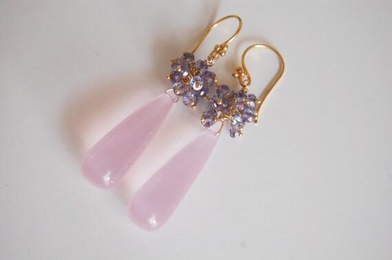 Baby Pink Quartz and Iolite Long drop Earrings
