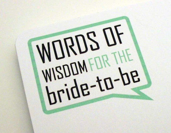 Words of Wisdom for the Bride-To-Be Shower Activity Cards Pk