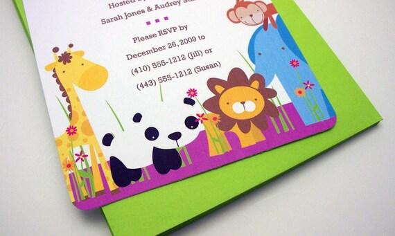 printable baby shower invitation zoo theme pdf for self printing