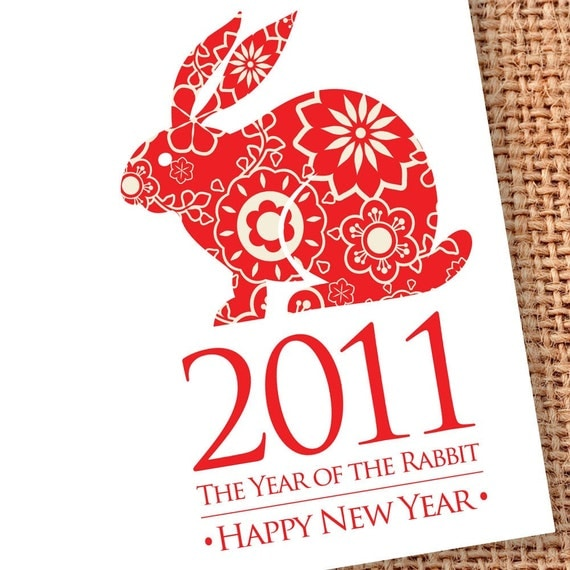 Year of the Rabbit Cards 2011 Chinese New Year February 3 (Set of 8)