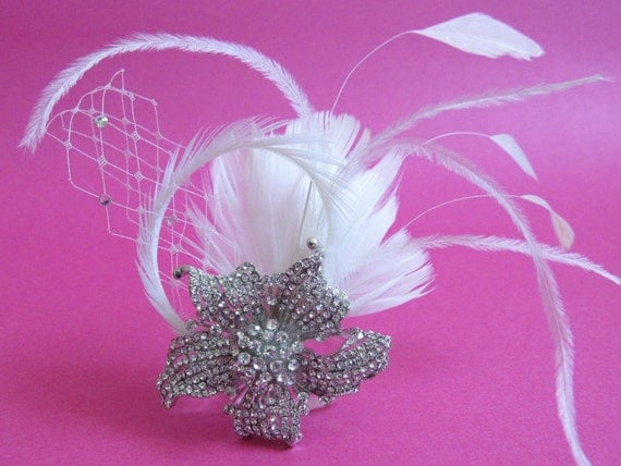 Clear rhinestone feathers on clip--tiara, headpiece, headband, bridal comb, comb, feather