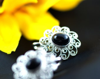 Vintage Black and Silver Clip On Earrings, costume jewelry, retro, cabochon, bezel, swirl, ornate, classic, ladies, women's