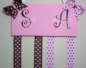 Double/Twin Bow holder personalized  custom made for little girls