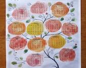 custom wedding handkerchief keepsake - 2012 sweet tree calendar with hand-lettered names, wedding date
