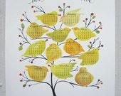 2012 wall calendar art print, calligraphed, hand-painted birds, berries, tree, hand-calligraphy