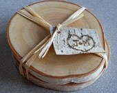 Pair of Personalized Rustic Birch Coasters Wedding Favor
