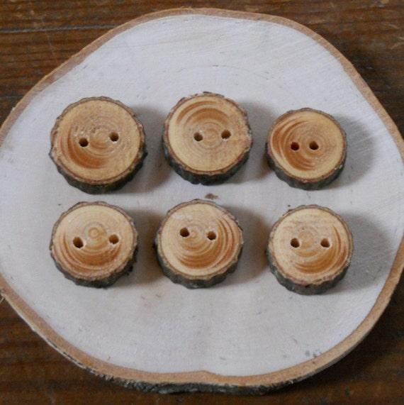 Set of 6 Hemlock Branch Tree  Buttons