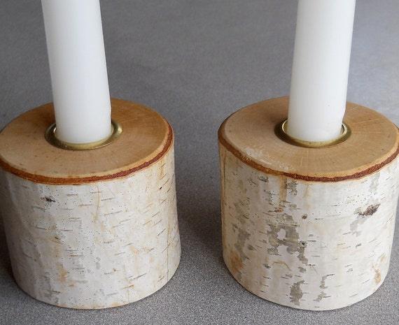Rustic Birch Candle Holders - Set of 2  with brass inserts