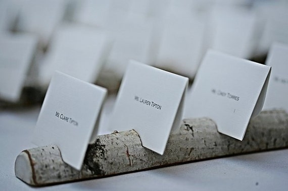 Reserved - 10 Birch Multi Place Card Card Holders, 150 rustic holders, 15 table numbers and a pen holder
