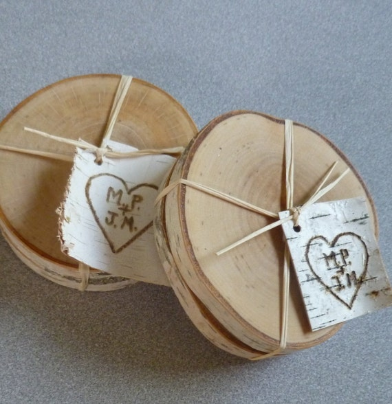 Reserved - 100 Paris of Rustic Wedding Favors Personalized Birch Coasters
