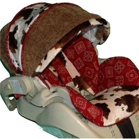 CUSTOM BOUTIQUE COWBOY BANDANA INFANT CAR SEAT COVERS