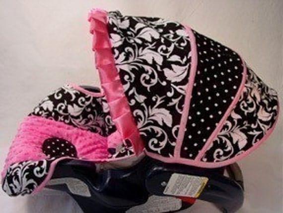 Custom Boutique Black Damask Hot Pink Infant Car Seat Cover 5 piece set