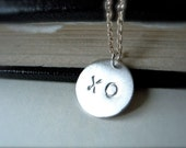 xo necklace hand stamped silver disc necklace - Kiss and hug necklace -Personalized jewelry gift idea for her