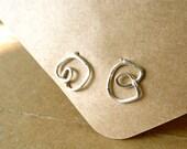Silver Earrings Silver Swirl Earrings abstract design in silver wire. Simple modern jewelry for her