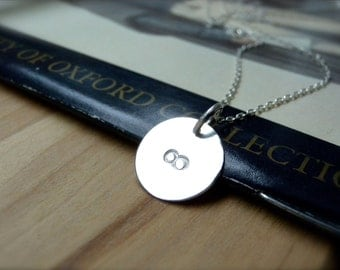 Infinity necklace hand stamped silver disc necklace - Eternity necklace handmade jewelry - Love necklaces birthday christmas gift idea