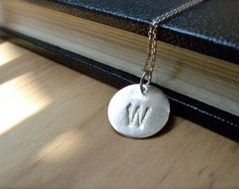 Initial W hand stamped silver disc necklace - Personalized initial jewelry gift idea - Unique gift guide for her - Handmade gifts
