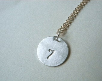 Number 7 seven necklace hand stamped silver disc pendant - Personalized lucky number 7 necklace perfect birthday gift idea