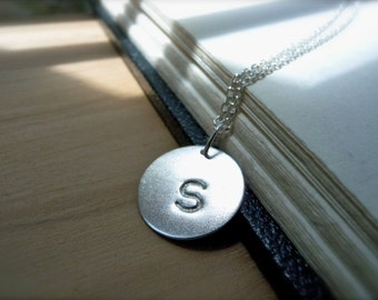 Initial S necklace hand stamped silver disc  necklace - Personalized handmade silver jewelry - birthday gift idea for her coworkers gifts