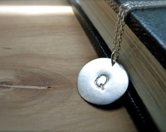Initial Q necklace hand stamped silver disc necklace - personalized jewelry christmas gift idea for her for daughter for colleague