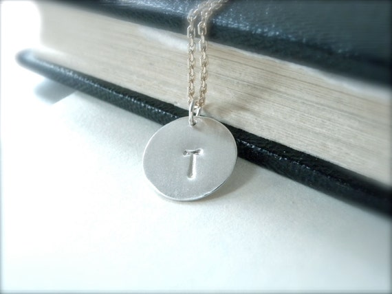 Initial T hand stamped silver disc necklace sterling silver personalized jewelry - family necklace friendship coworker gift idea