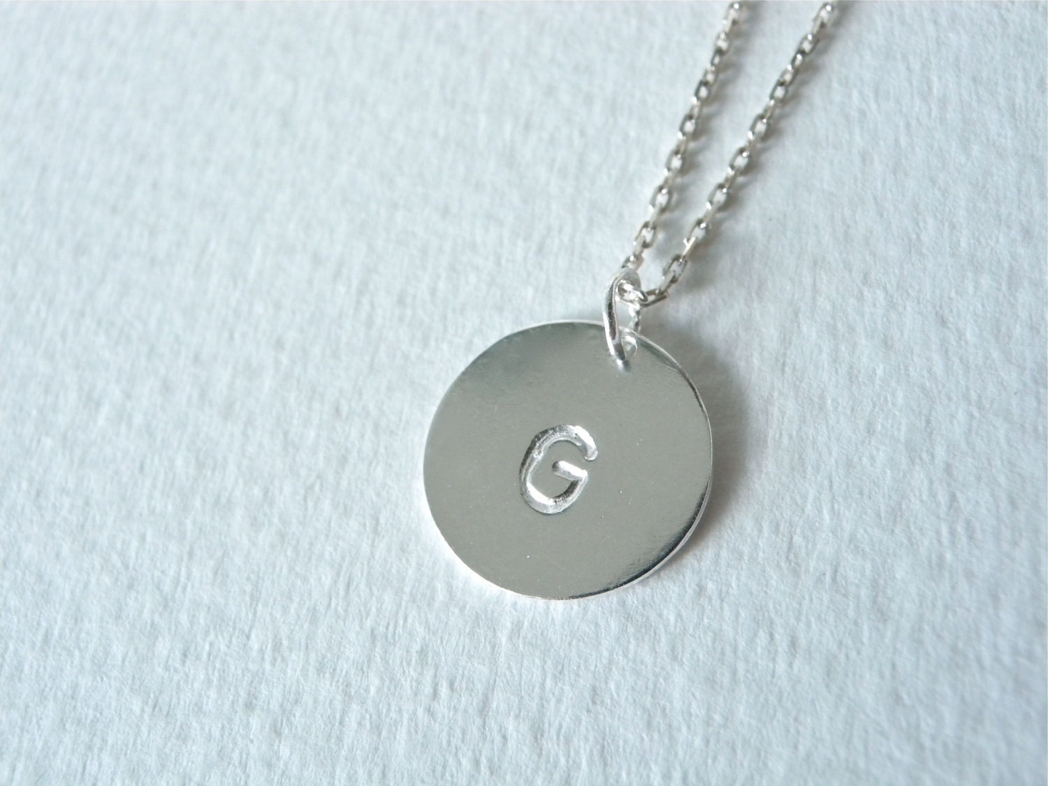initial g necklace hand stamped silver disc necklace. Black Bedroom Furniture Sets. Home Design Ideas