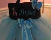 Dance Bag - Embroidered tutu bag with Rhinestone Ballet Slippers and Matching Hair Bow
