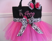 Embroidered Ballet Bag - Black and Pink tutu tote with ballet slippers and matching hairbow
