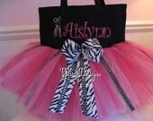 Embroidered  Dance Bag - Zebra Tutu tote with Rhinestone ballet slippers