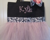 Mini Tutu Tote bag - Personalized Dance bag with matching hair bow