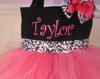 Tutu Tote bag - Mini Personalized Dance bag with matching hair bow