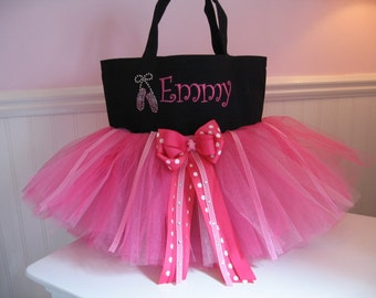 Dance Bag with rhinestone ballet slippers - Embroidered tutu Ballet bag with Rhinestone Ballet Slippers