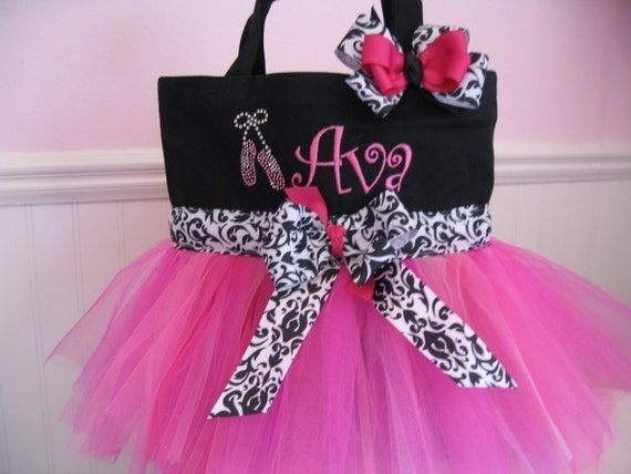 Embroidered Dance Bag - Black and Pink with ballet slippers and matching hairbow