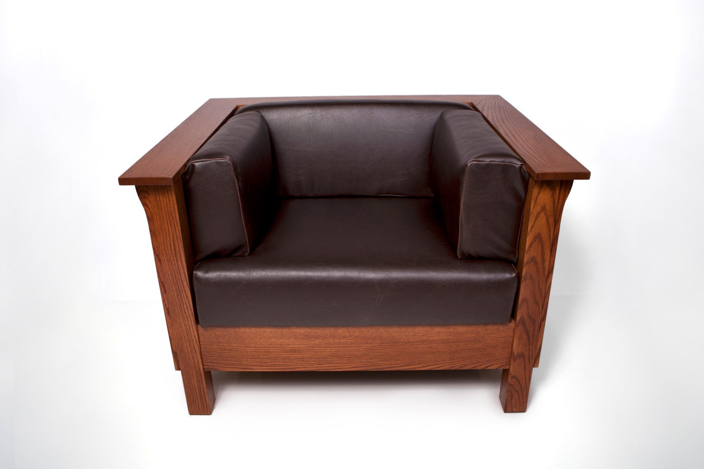 Mission arts crafts stickley style cube chair leather new for New style chair