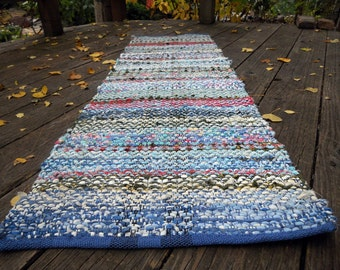 Table Runner, Rag Rug,  in Soft Muted Colors
