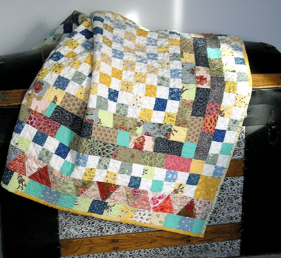 Baby Quilt Reproduction and Kaffee Fasset Fabrics in White/Blues/Yellow/Teal/Brown