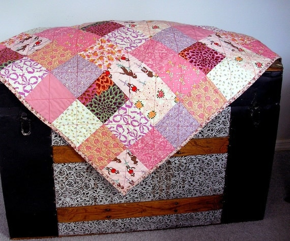 Baby  Quilt in Pink Reproduction and Kaffe Fasset Fabrics