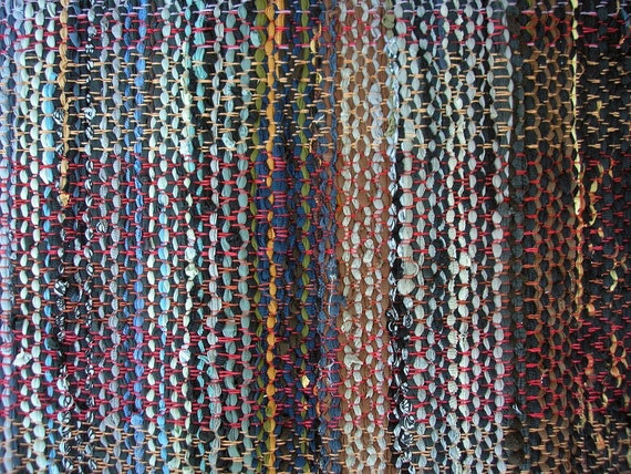 Rag Rug Handwoven Recycled Cotton Knit -Warm Blacks/Browns/Greys/Blues