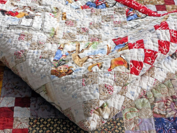 Baby Cowgirl Crib Quilt in Reproduction Fabrics