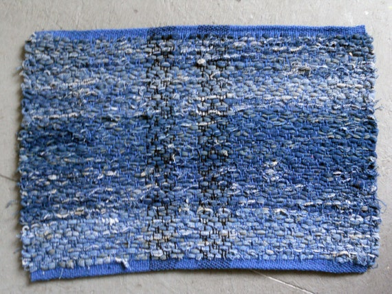 Rag Rug, Place Mat, Recycled Denim