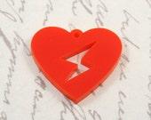 Laser cut acrylic lightning strike heart pendant x 3