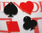 4 x laser cut acrylic card suit poker charms