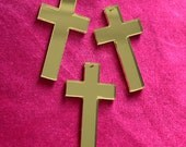 3 x Laser cut acrylic mirrored Cross pendants
