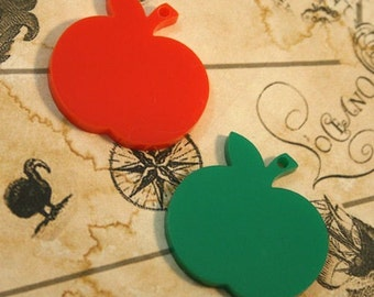 Red and Green apple pendants (1 pair). Laser cut acrylic
