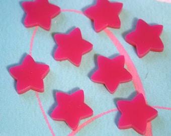 8 x Laser cut acrylic star cabochons